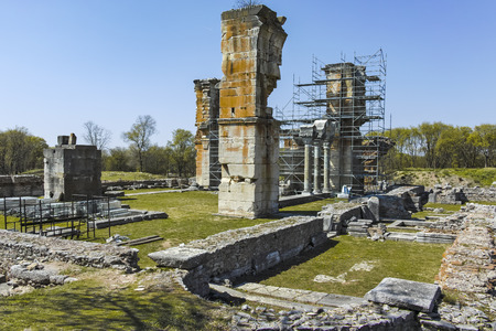 Basilica in the archeological area of ancient Philippi, Eastern Macedonia and Thrace, Greece