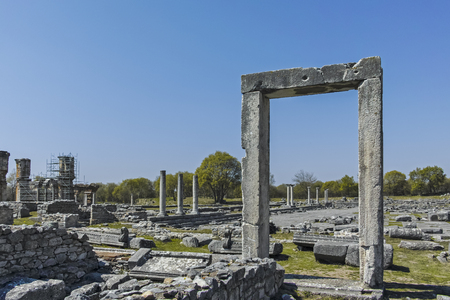 Ancient Entrance at archaeological site of Philippi, Eastern Macedonia and Thrace, Greece Banque d'images - 123113731