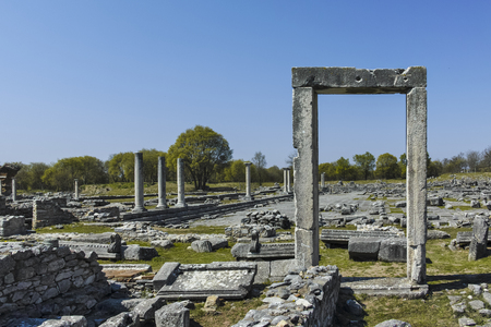 Ancient Entrance at archaeological site of Philippi, Eastern Macedonia and Thrace, Greece Banque d'images - 123113735