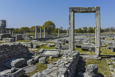Ancient Entrance at archaeological site of Philippi, Eastern Macedonia and Thrace, Greece Banque d'images - 123113736