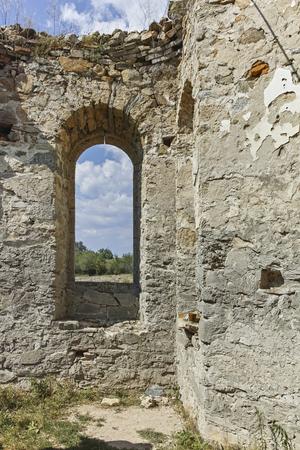 Abandoned Medieval Orthodox church of Saint John of Rila at the bottom of Zhrebchevo Reservoir, Sliven Region, Bulgaria