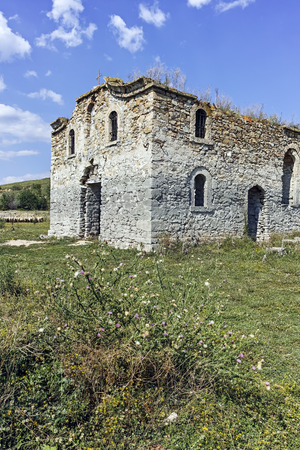 Abandoned Medieval Orthodox church of Saint John of Rila at the bottom of Zhrebchevo Reservoir, Sliven Region, Bulgaria Stock Photo