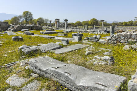 Panoramic view of Ancient Ruins at archaeological area of Philippi, Eastern Macedonia and Thrace, Greece