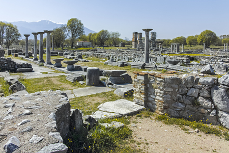 Panoramic view of Ancient Ruins at archaeological area of Philippi, Eastern Macedonia and Thrace, Greece Stock fotó