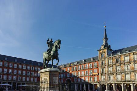 MADRID, SPAIN - JANUARY 23, 2018: Old Building at Plaza Mayor in city of Madrid, Spain Redakční