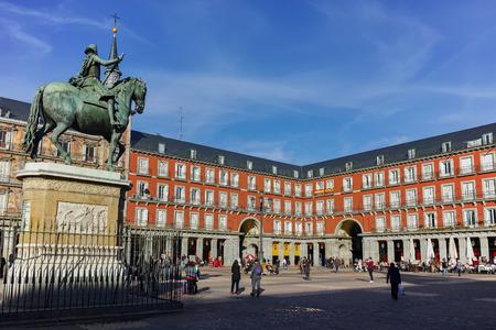 MADRID, SPAIN - JANUARY 23, 2018: Panoramic view of Plaza Mayor in city of Madrid, Spain