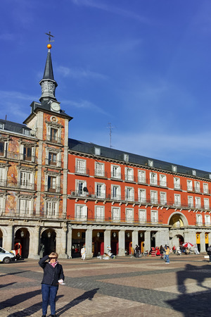 MADRID, SPAIN - JANUARY 23, 2018: Panoramic view of Plaza Mayor in city of Madrid, Spain
