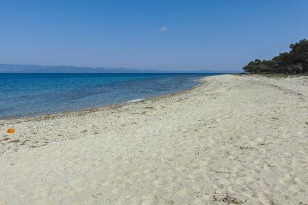 Amazing view of Lagoon Beach at Kassandra Peninsula, Chalkidiki, Central Macedonia, Greece Stok Fotoğraf