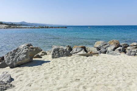 Amazing view of Lagoon Beach at Kassandra Peninsula, Chalkidiki, Central Macedonia, Greece Stock Photo