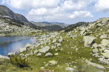 Lake at the trail from Malyovitsa hut to Scary (strashnoto) Lake, Rila Mountain, Bulgaria Stok Fotoğraf