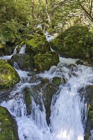 Landscape with Iskar Gorge and small waterfall at Vazova trail, Balkan Mountains, Bulgaria
