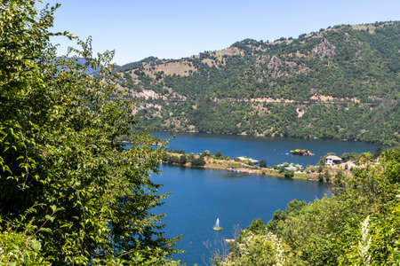Summer ladscape of Vacha (Antonivanovtsi) Reservoir, Rhodope Mountains, Plovdiv Region, Bulgaria