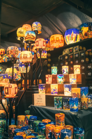 Lamp at christmas Market Editorial