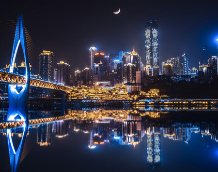 Chongqing night river scenery Editorial