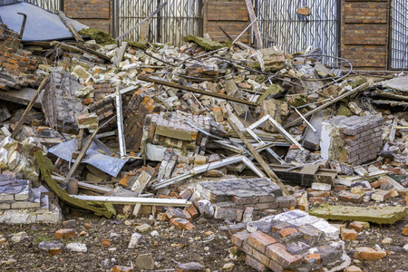 brick building: ruins of the old red brick building
