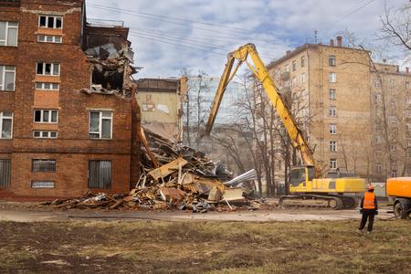 demolished: excavator demolishes old soviet school building in moscow