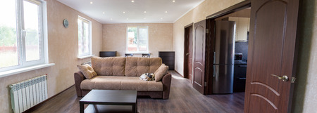 interrior: living room of a country house. Dog sleeping on the couch
