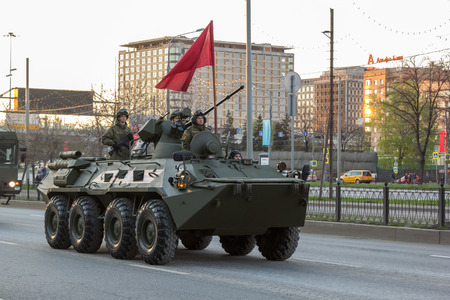 enginery: MOSCOW - MAY 4, 2015: Military vehicles on Leningradsky Prospekt in rehearsal for the Victory Day parade