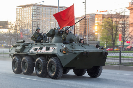 enginery: Moscow, Russia - May 4, 2015: military vehicles ride through Leningradsky Prospekt at rehearsal for the Victory Day parade Editorial