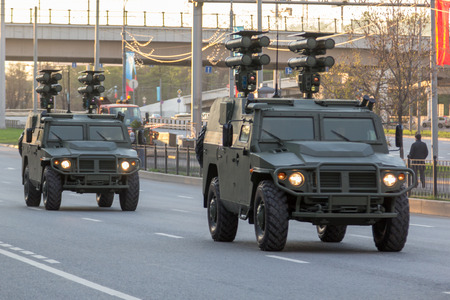 rehearsal: Moscow, Russia - May 4, 2015: military vehicles ride through Leningradsky Prospekt at rehearsal for the Victory Day parade Editorial