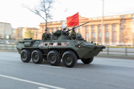 a rehearsal: Moscow, Russia - May 4, 2015: military vehicles ride through Leningradsky Prospekt at rehearsal for the Victory Day parade Editorial