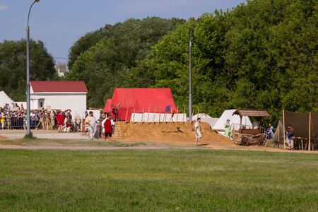 ancient soldiers: MOSCOW, RUSSIA - JUNE 7, 2015: Ancient Roman fortified camp, soldiers and spectators at Times and Epochs: Rome historical festival