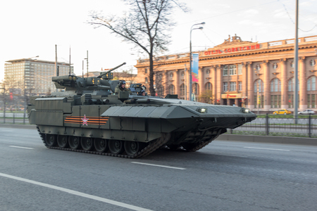 rehearsal: MOSCOW - MAY 4, 2015: Military vehicles on Leningradsky Prospekt in rehearsal for the Victory Day parade