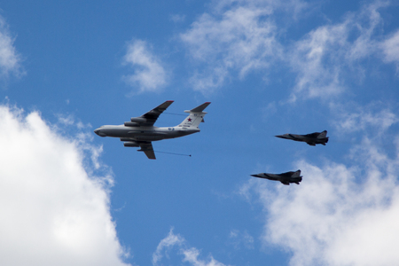 interceptor: MOSCOW - MAY 5, 2015: warplanes fulfill aerobatics ready for the parade in honor of Victory Day Editorial