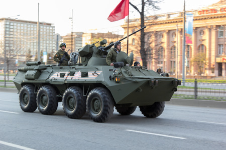 a rehearsal: MOSCOW - MAY 4, 2015: Military vehicles on Leningradsky Prospekt in rehearsal for the Victory Day parade