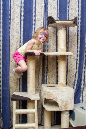 climbing frame: little girl hanging on a cat Climbing frame Stock Photo