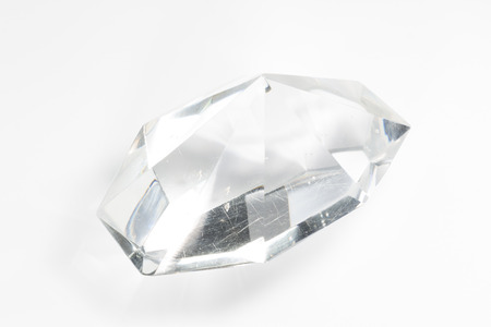 crazing: one glass crystal on a white background