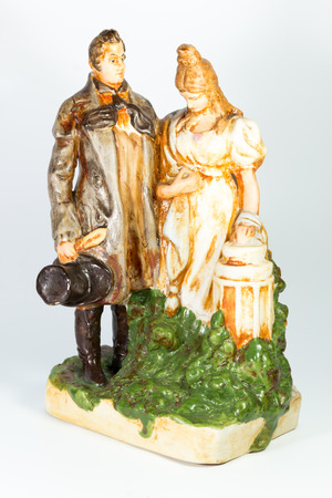 century: porcelain pair of 19th century on a white background