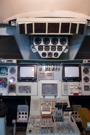 MOSCOW,RUSSIA - February 19, 2017: cabin of the space shuttle Buran in the Central House of Aviation and Astronautics