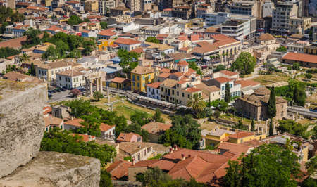 View of Athens and ancient ruins, Greece Stock Photo