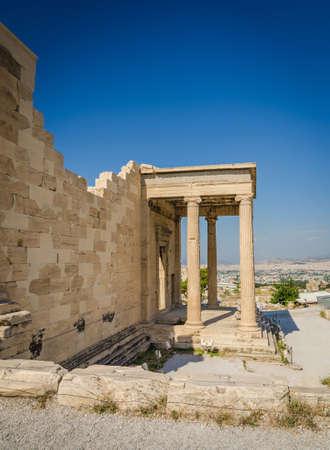 Ancient ruins of Erechtheum, Acropolis, Athens Stock Photo