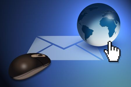 webmail: Graphic Illustration representing Email communication Stock Photo