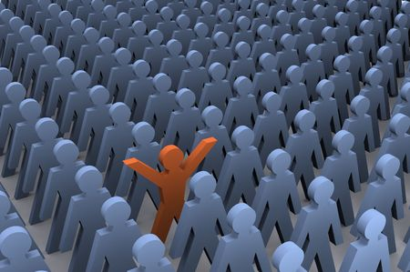 Inspiration Illustration showing success and someone standing out from the crowd. Stock Photo