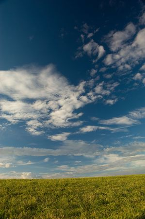 polarised: A beautiful sky  clouds and landscape backdrop Stock Photo