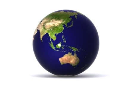 A Colourful,3D Rendered Earth, showing Australia, japan etc Stock Photo - 3422963