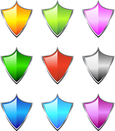 A Colourful selection of Shield Icons Vector