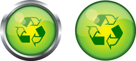 Recycle symbol button Stock Vector - 4092462