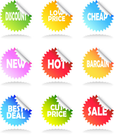 A Colourful set of Sale Stickers Illustration