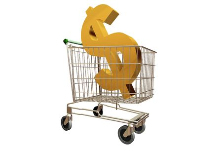 A 3d Rendered Image of a Shopping Trolley