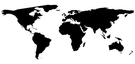 黒と白の世界地図イラスト  イラスト・ベクター素材