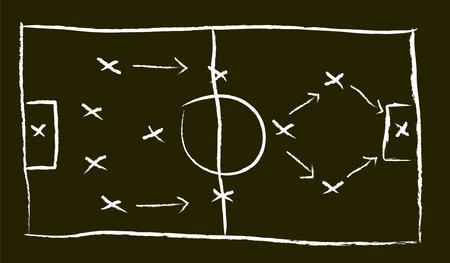 A Vector Illustration of a Blackboard of Football Tactics Illustration