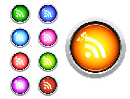 カラフルなベクトルの RSS ボタンのセット