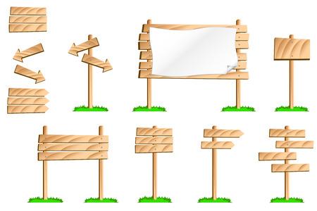 木製の標識の一連のカラフルなイラスト。部分を使用して独自の標識に  イラスト・ベクター素材