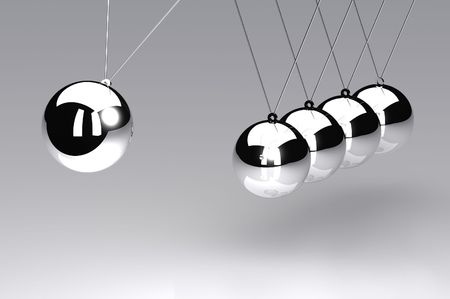 newton cradle: A 3d Rendered Illustration of a Newtons Cradle