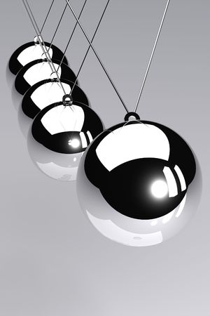 A 3D Rendered Image of a Newtons Cradle Stock Photo