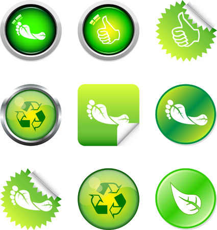 A Colourful Green Button Set Vector